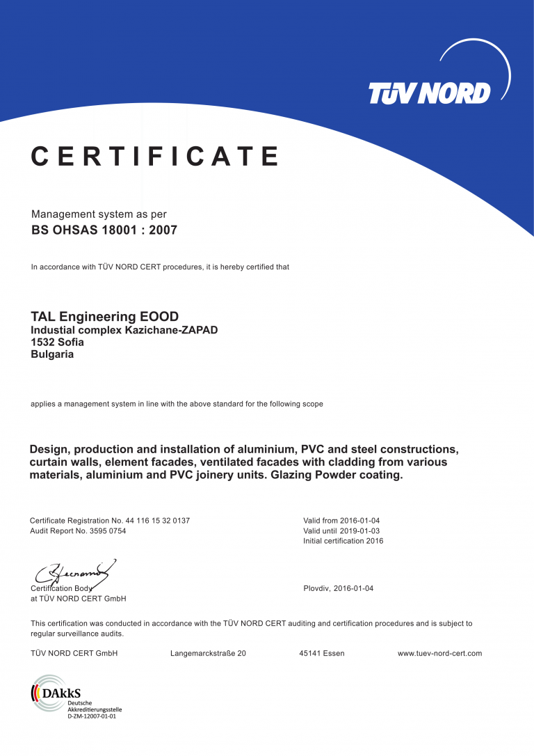 Certificate ISO 45001:2018