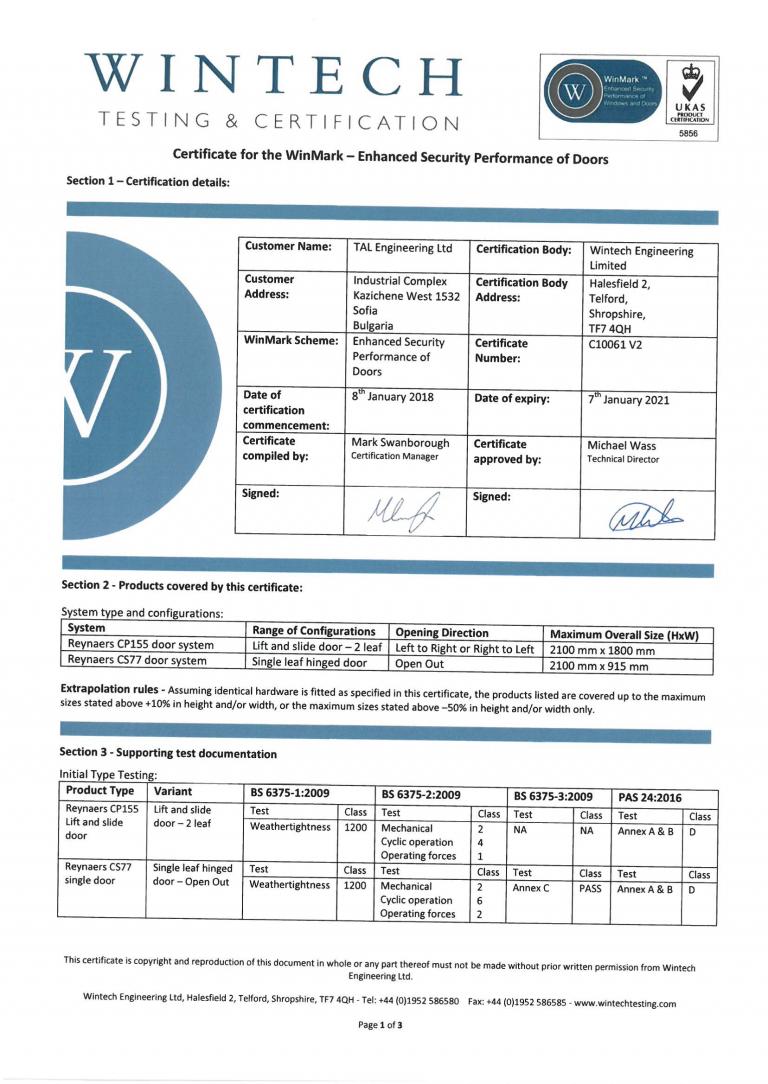 Certificate – WinMark – S10061-1