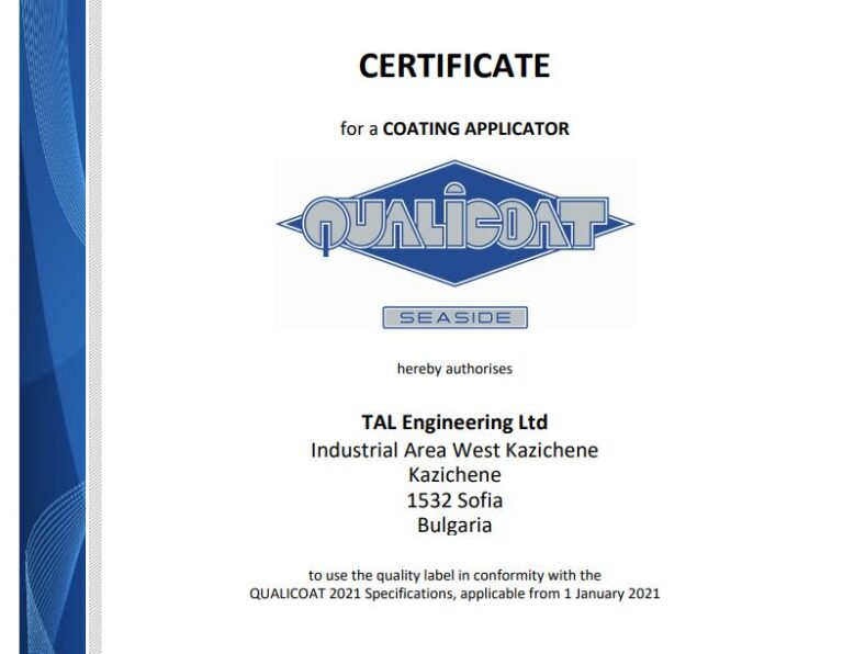 Certificate for powder coating and installation in a more aggressive environment with marine climate from Qualicoat.